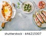 georgian cuisine top view....   Shutterstock . vector #646215307