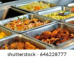 steel tray filled with food... | Shutterstock . vector #646228777
