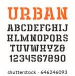 stencil plate serif font in... | Shutterstock .eps vector #646246093