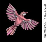 embroidery flying bird with... | Shutterstock .eps vector #646257763