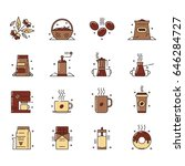 icons set of the coffee... | Shutterstock . vector #646284727