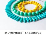beaded necklace from colorful... | Shutterstock . vector #646285933
