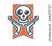 skull with weapons emblem | Shutterstock .eps vector #646293727