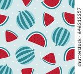 watermelon seamless pattern on... | Shutterstock .eps vector #646312357