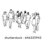 people walking marker sketch...   Shutterstock . vector #646335943