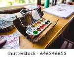 a set of colorfull paints on... | Shutterstock . vector #646346653