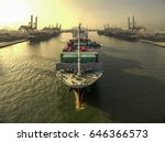 aerial view of cargo ship ... | Shutterstock . vector #646366573
