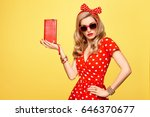 fashion model girl in polka... | Shutterstock . vector #646370677