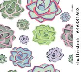 succulent plant seamless... | Shutterstock .eps vector #646381603