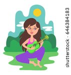 beautiful long haired girl sits ...   Shutterstock .eps vector #646384183