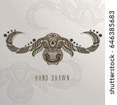 patterne buffalo head on... | Shutterstock .eps vector #646385683