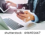 hands of businessman using... | Shutterstock . vector #646401667