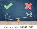 a wooden seesaw on blue... | Shutterstock . vector #646421803