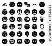facial icons set. set of 36... | Shutterstock .eps vector #646423183