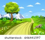 summer landscape with meadows... | Shutterstock .eps vector #646441597