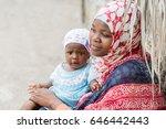 african black woman holding... | Shutterstock . vector #646442443