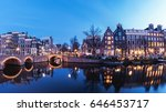 Stock photo dutch canal house architecture alongside the canals of amsterdam beautiful night at the historical 646453717