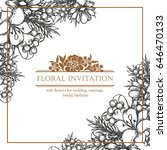 invitation with floral... | Shutterstock . vector #646470133