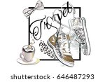 travel background with a cup of ... | Shutterstock .eps vector #646487293