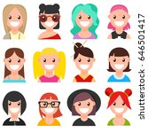 set of 12 cartoon women faces.... | Shutterstock .eps vector #646501417