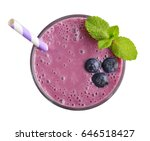 glass of blueberry milkshake or ... | Shutterstock . vector #646518427