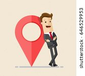 businessman with map pointer.... | Shutterstock .eps vector #646529953