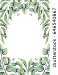 hand drawn floral frame with... | Shutterstock . vector #646540867