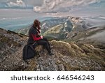 rear view of a woman sitting on ... | Shutterstock . vector #646546243