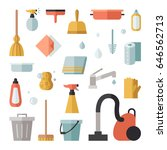 cleaning flat vector icons big...   Shutterstock .eps vector #646562713