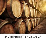 wine barrels in wine vaults in... | Shutterstock . vector #646567627