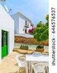 Small photo of White typical houses in countryside area near Santa Eularia town, Ibiza island, Spain