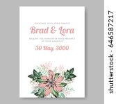 wedding invitation floral... | Shutterstock .eps vector #646587217