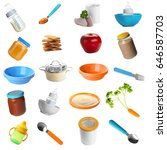 collage of food and tableware... | Shutterstock . vector #646587703