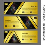 gold banner template vector ... | Shutterstock .eps vector #646596547