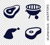 barbecue icons set. set of 4... | Shutterstock .eps vector #646597093