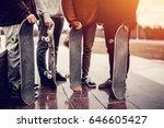 Group Of Friends Skateboarders...