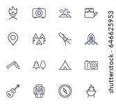 set of 16 picnic outline icons... | Shutterstock .eps vector #646625953