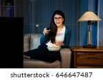 happy attractive lady eating...   Shutterstock . vector #646647487