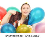 girl with balloons look at... | Shutterstock . vector #64666069