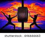 two taiko drummers in... | Shutterstock . vector #646666663