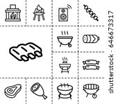 grill icon. set of 13 outline... | Shutterstock .eps vector #646673317