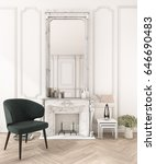 3d rendering white classic wall ... | Shutterstock . vector #646690483