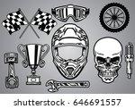 set of motocross racing with... | Shutterstock .eps vector #646691557