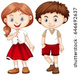 boy and girl in red and white... | Shutterstock .eps vector #646692637