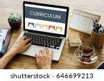 hands using digital laptop on... | Shutterstock . vector #646699213