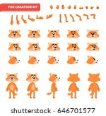 cartoon fox creation set.... | Shutterstock .eps vector #646701577