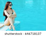 summer girl with fashion... | Shutterstock . vector #646718137