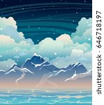 vector seascape with calm blue... | Shutterstock .eps vector #646718197