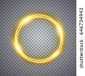 magic gold circle light effect. ... | Shutterstock . vector #646734943