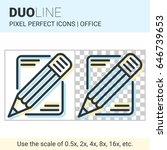 pixel perfect duo line pencil... | Shutterstock .eps vector #646739653